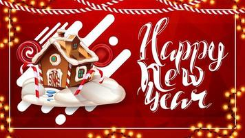 gelukkig nieuwjaar, rode ansichtkaart met veelhoekige textuur, lavalampontwerp, prachtige letters en kerst peperkoekhuis
