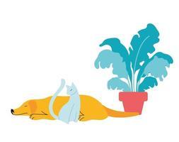 moderne bloempot en huisdieren in de woonkamer vector