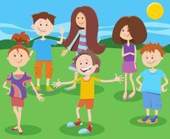 cartoon gelukkige kinderen of tieners tekens groep vector