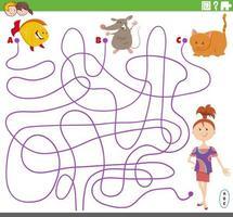 lijn doolhof taak met meisjes- en huisdierenpersonages vector