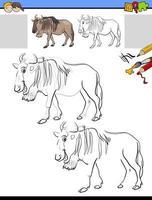 werkblad tekenen en kleuren met wildbeest vector