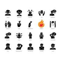 menselijke gevoelens zwarte glyph pictogrammen instellen op witte ruimte vector