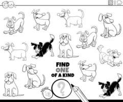 een van een soort taak met honden kleurboek pagina