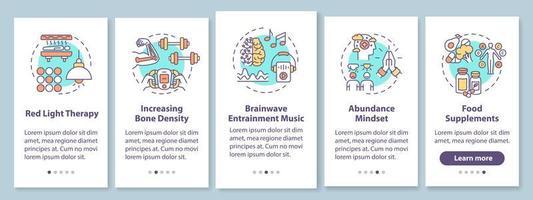 biohacking-technieken voor het onboarding van het paginascherm van de mobiele app met concepten