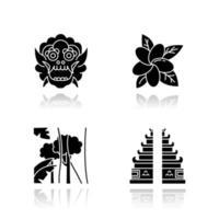 Indonesië slagschaduw zwarte glyph pictogrammen instellen. tropische landplanten. vakantie in Indonesië. het verkennen van tradities, cultuur. unieke flora. Bali bezienswaardigheden, architectuur. geïsoleerde vectorillustraties vector