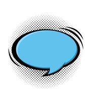 toespraak bubble blauwe kleur pop-art stijl