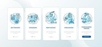 biohacking-elementen onboarding mobiele app-paginascherm met concepten