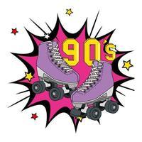 rolschaatsen uit de jaren negentig in explosieve pop-art