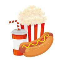 heerlijke hotdog met drankje en popcorn fastfood-pictogram vector