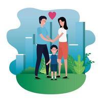 ouders koppelen met zoontje op de parkkarakters