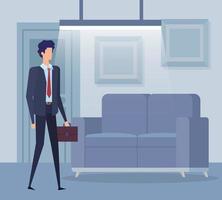 elegante zakenmanarbeider in de woonkamer