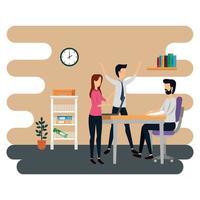 elegante zakenmensen die op kantoor werken