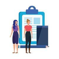 jonge vrouwen met checklistpersonages