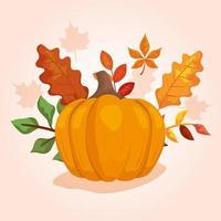 pompoen met bladeren van de herfst