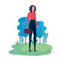 elegante zakenvrouw werknemer in het veld