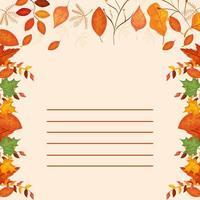 kaart met bladeren herfst decoratie