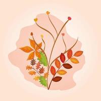takken met bladeren van de herfst