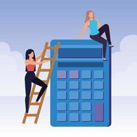 jonge vrouwen met rekenmachinekarakters