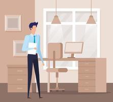elegante zakenmanarbeider in de kantoorscène