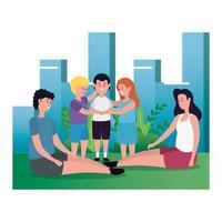 ouders koppelen met kinderen op het park