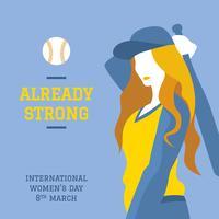 Internationale Vrouwendag Honkbal Vector