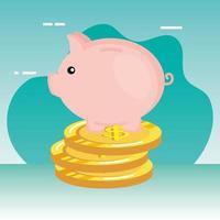spaarvarken met muntstukkengeld vector