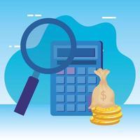 rekenmachine wiskunde met vergrootglas en geld