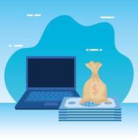 rekeningen geld dollars met laptop