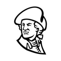 buste van president george washington die naar zwart-wit mascotte kijkt vector