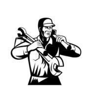 klusjesman reparateur bouwer dragende moersleutel en spade retro zwart-wit