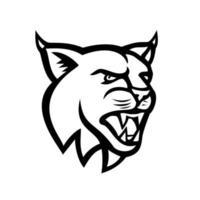bobcat of Euraziatische lynx kat hoofd zijaanzicht mascotte zwart en wit