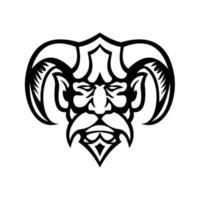 Hades Griekse god hoofd vooraanzicht mascotte zwart en wit