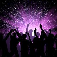 Partijmenigte op purpere sterrenachtergrond