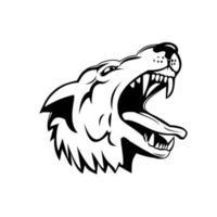 hoofd van een agressieve en boze grijze wolf grijze wolf lage hoek mascotte zwart en wit vector