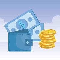 munten en rekeningen geld dollars met portemonnee vector
