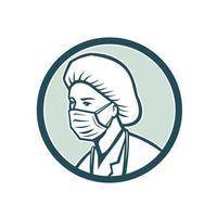 verpleegster die chirurgisch maskermascotte draagt vector