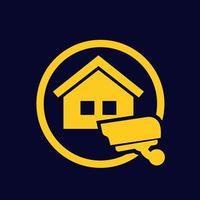 huis onder videobewaking pictogram, vector