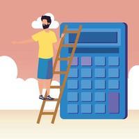 jonge man met rekenmachinekarakter
