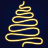 gele vector neon stijl kerstboom, gloeiende kerstboom. vectorillustratie van kerstboom.