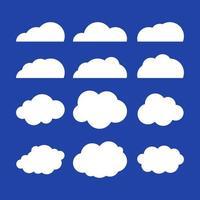platte vectorillustratie van wolken. set van blauwe hemelachtergrond. platte ontwerp wolk collectie. vector
