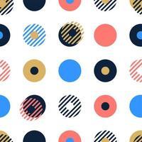 abstracte achtergrond naadloze vector patroon gemaakt met cirkelvormige geometrische vormen of stippen met lijn. kleurrijke, speelse, trendy en moderne vectorkunst