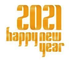 2021 gelukkig Nieuwjaar goud geel lint lettertype op witte achtergrond. prettige kerstdagen en een gelukkig nieuwjaar wenskaart banner. vector
