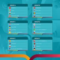 Europees voetbal 2020 toernooi laatste fase groepen vector stock illustratie. Europees voetbaltoernooi 2020 met achtergrond. vector land vlaggen.