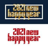 stel 2021 gelukkig Nieuwjaar rood en goud lint lettertype op witte en blauwe achtergrond. prettige kerstdagen en een gelukkig nieuwjaar wenskaart banner. vector