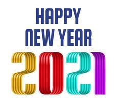 2021 gelukkig Nieuwjaar kleurrijke lint lettertype op witte achtergrond. prettige kerstdagen en een gelukkig nieuwjaar wenskaart banner. vector