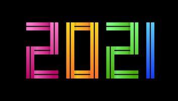 kleurrijke gelukkig nieuwjaar 2021 viering wenskaart vectorillustratie voor Nieuwjaar met creatieve tekenstijl vector