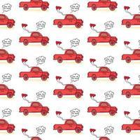hand getrokken vrachtwagen auto en liefde ballon patroon ontwerppatroon vector