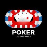 vector poker logo ontwerpsjabloon met gokken elementen. casino illustratie