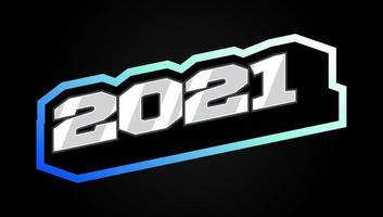 sportstijl modern professioneel gelukkig nieuwjaar typografie 2021 nummerontwerp voor wenskaart vector