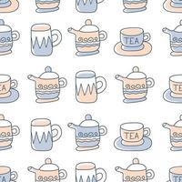 naadloze patroon met hand getrokken schetsmatige thee- en koffiekopjes. koffiepauze tegels achtergrond.